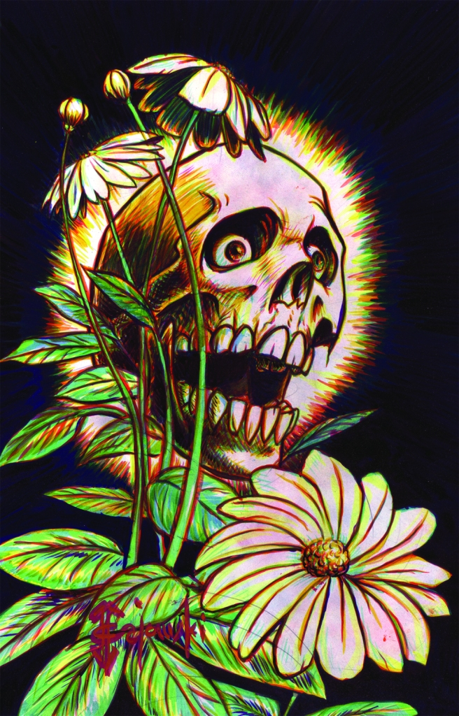 #skull, #flower, #johngajowski, #john gajowski, #color, #horror,