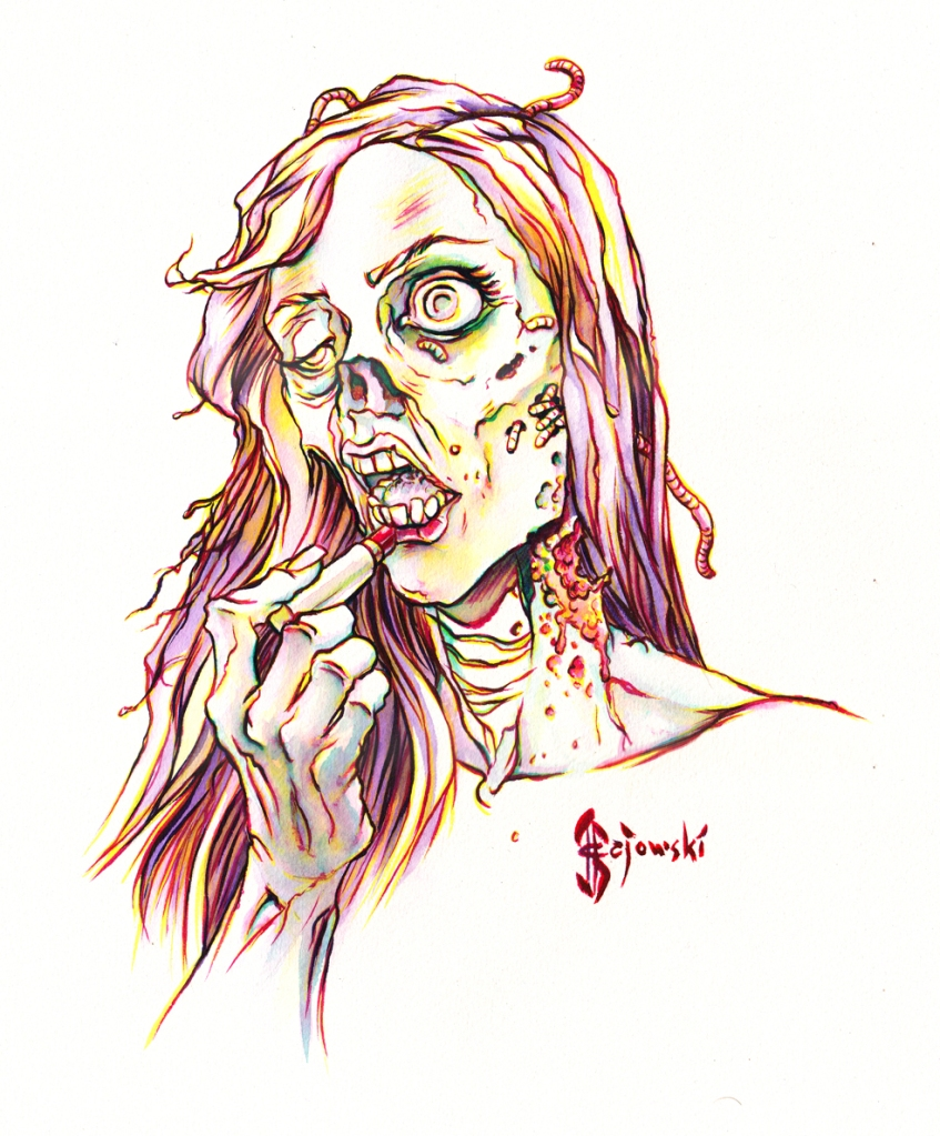 #zombie, #make up, #makeup, #dead, #johngajowski, #john gajowski, #comics, #inks, #watercolor