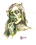 zombie, make up, makeup, dead, johngajowski, john gajowski, comics, inks, watercolor